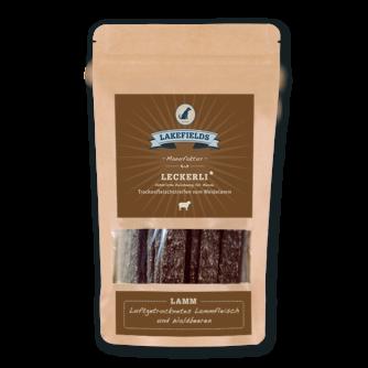 Lakefields Hundefutter Snacks Leckerli Trockenfleischstreifen vom Weidelamm 150g