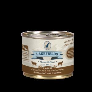 Lakefields Hundefutter Nassfutter Dosenfleisch Menü Lamm 200g