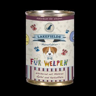 Lakefields Hundefutter Nassfutter Dosenfleisch Menü Rind für Welpen 400g
