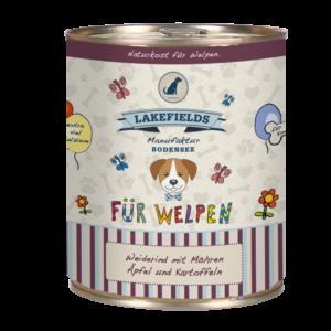Lakefields Hundefutter Nassfutter Dosenfleisch Menü Rind für Welpen 800g